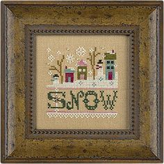 Lizzie Kate Little Snow, A - Cross Stitch Kit. Kit comes with the pattern, 28 ct. Amber linen, an antique gold snowflake charm and white iridescent beads.  Stit