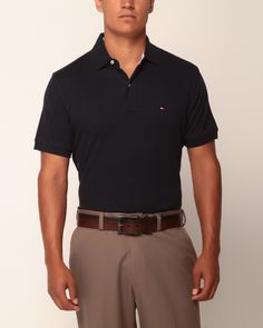 TOMMY HILFIGER men/'s Navy Bryant Colorblock Custom Fit Manches Courtes Polo Shirt