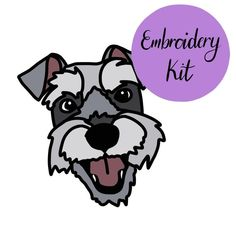 Your place to buy and sell all things handmade Embroidered Gifts, Sketch Design, Embroidery Kits, Schnauzer, Fabric Patterns, Linen Fabric, Scissors, Make Your Own, Hoop