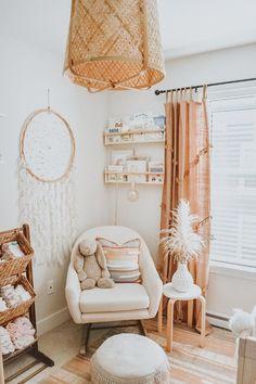 Girl Nursery Themes, Baby Nursery Decor, Baby Bedroom, Project Nursery, Boho Nursery, Nursery Ideas, Peach Baby Nursery, Baby Room Wall Decor, Baby Room Art