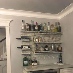 Wall Bar | Etsy Home Wet Bar, Diy Home Bar, Home Bar Decor, Diy Bar, Bars For Home, Basement Bar Designs, Home Bar Designs, Basement Ideas, Bandeja Bar