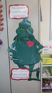 such a cute idea for the holidays! students catch each other being kind and add a heart to the grinch!