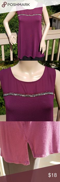 🆕  Apt 9 Sleeveless Burgandy top Apt 9 burgandy sleeveless top with beads acrid bust. All beads are still attached. In excellent condition and only worn twice. Looks great worn with black leggings.   Comes from a smoke-free home. Apt. 9 Tops
