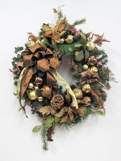 Topaz and Gold Silk Floral Winter Wreath with Holiday Wreaths, Winter Wreaths, Holiday Decor, Gold Silk, Poinsettia, Pine Cones, Topaz, Floral Wreath, Bows