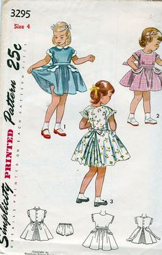 Simplicity 3295; ©1950; Child's One-Piece Dress and Panties; Size 4 - New Vintage Studio