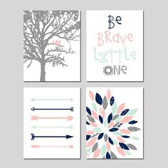 TRIBAL Arrows Baby GIRL Nursery Art Pink Mint Navy - Birds in a Tree, Be Brave Little One Quote, Abstract Floral - Set of Four 8x10 Prints