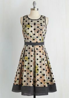 Mingle You Out Dress by Ryu - Mid-length, Woven, Multi, Polka Dots, Floral, Print, Cutout, Pleats, Party, Sleeveless, Wedding, Fit & Flare