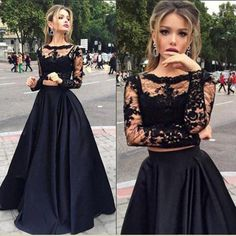Long sleeve Black Prom Dress, 2 pieces Prom Dress, Sexy Prom Dress, 2016 Long…