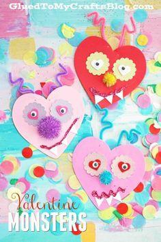 Craft Foam Heart Valentine Monsters - Valentine's Day Kid Craft Idea