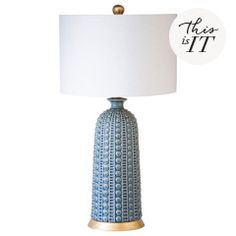 Surya brings classic hues to living rooms and bedrooms with the Calcott lamp. On a curved ceramic silhouette, this light fixture delights with white and blue striated stripes. An ivory linen shade completes the look. 17in W x 17in D x 32in H. Body: Ceramic. Base and finial: Acrylic. Harp: Iron. Linen shade. Accepts one 100W max bulb.