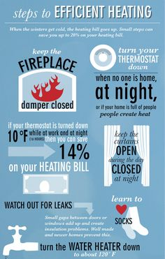 When the winters get cold, the heating bill goes up. Small steps can help you save on your heating bill! Check out this infographic with more small tips to save on heating this winter. For any heating service, call Evergreen & Energy Saving Tips, Money Saving Tips, Save Energy, Saving Ideas, Winter Poster, Home Maintenance Checklist, Hvac Maintenance, Winter Hacks, Winter Tips