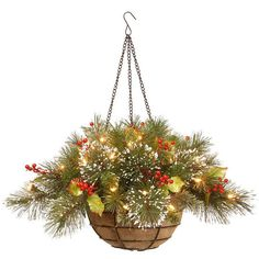 Co NATIONAL TREE National Tree Wintry Pine Hanging Basket
