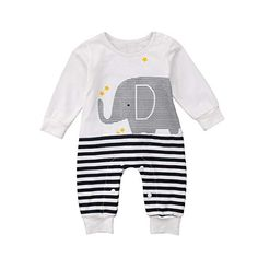 3004fd2dd5b1 Amazon.com  Emmababy Newborn Infant Baby Boys White Jumpsuit Girls Clothes  Long Sleeve Romper Sweatsuit Animal Print 0-24M  Clothing