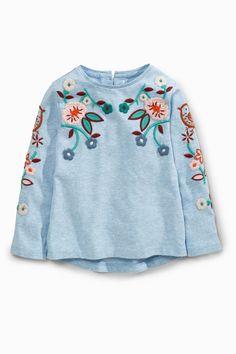 Buy Blue Embroidered Long Sleeve T-Shirt (3mths-6yrs) from the Next UK online shop