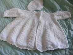 Crochet Christening Coat and Hat Crochet Shawl Free, White Ribbon, Christening, Custom Made, Compliments, Boy Or Girl, Coat, Pretty, Skirts
