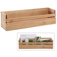 MyGift Country Rustic Wall Mounted / Tabletop Multipurpose Home Storage Box Shelf, Unfinished