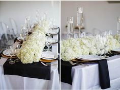 ivory and black tablescape via StyleUnveiled.com / Seattle Wedding / Cheryl Ford Photography