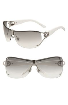 f363e820f7 Gucci 73mm Shield Sunglasses with Crystal Logo Detail Gucci Eyewear