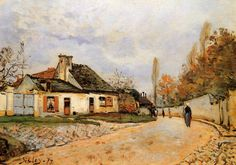 Neighborhood Street in Louveciennes (Rue de Village (Voisins to Louveciennes)) Artist: Alfred Sisley Completion Date: 1872 Style: Impressionism Genre: cityscape Technique: oil Material: canvas Dimensions: 38 x 55 cm Tags: streets-and-squares, houses-and-buildings