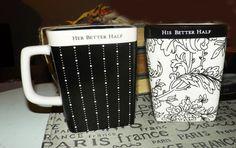 PAIR of vintage c.1996 His & Her coffee or tea by BuyfromGroovy