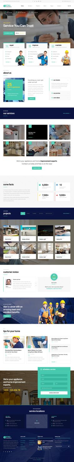 Etro - Home Maintenance, Repair and Improvement Services WordPress Theme #businesstemplates #wordpressthemes #html5css3 #portfolio #responsivedesign #seofriendly