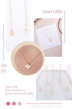 Spoil your Alpha Phi Grad with a custom sorority state necklace! Alpha Phi Grad Gift | APhi Sorority State Necklace | College Graduation Gift Idea | Grad Gift for Her | Grad Gift for Girlfriend | Grad Gift for Daughter | Grad Gifts for Best Friends | Personalized State Necklace | Sorority Graduation Necklace #HappyGraduation #SororityGrad Kappa Kappa Gamma, Kappa Alpha Theta, Alpha Chi Omega, Delta Zeta, Delta Sorority, Sigma Tau, Tri Delta, College Grad Gifts, College Sorority