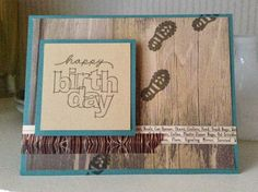 Timberline Masculine Birthday Card - love that wood paper!