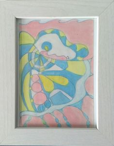 Abstract composition in powder pink blue yellow 25 x 20 cm including frame, to hung or stand For more detail see my shop at Etsy (link below)