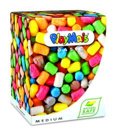 PlayMais Basic Medium. Ein absoluter Bastelspaß: Durch Anfeuchten lässt sich der PlayMais nach Belieben formen und aneinander kleben. So entstehen einzigartige Kunstwerke, der Kreativität sind keine Grenzen gesetzt. PlayMais besteht aus Maisgrieß, Wasser sowie Lebensmittelfarbe und ist somit zu 100% biologisch abbaubar. Verpackung: ca. 15 x 15 x 20 cm