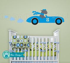 Race Car Decal with Dogs Racecar Wall Decal Dogs by InAnInstantArt