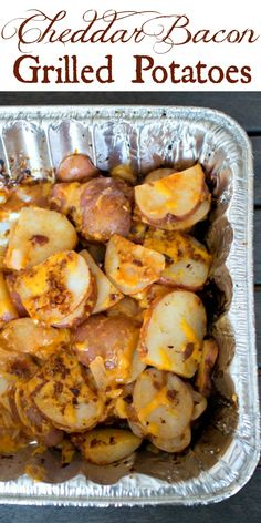 Cheddar Bacon Grilled Potatoes - an easy side dish for the grill combining potatoes with cheese, Barbecue sauce and bacon. Cheddar Bacon BBQ Grilled Potatoes