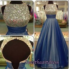 2016 cute backless blue tulle long prom dress with sequins top, homecoming dress, prom dresses for teens #coniefox #2016prom