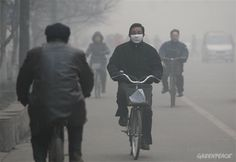 Cutting through China's air pollution is making them wear something to cover their faces because of harm they can get