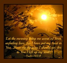 Let the morning bring me word of your unfailing love. Psalm 143:8