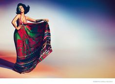 Nicki Minaj poses in a tropical style gown for Roberto Cavalli's S/S 15