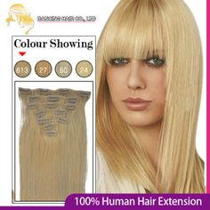 """Queen Beauty Lady Remy Hair 15"""" 18"""" 20""""  Full Head Virgin Clip in on Human Hair Extension #613 blonde 70g Free Shipping $26.00"""