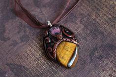 Tigers eye, Rodonite Gold tigers eye gemstone necklace, yoga gift, tigers eye pendant, crystal pendant, healing crystal, goddess jewelry by Velwoo