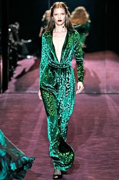 A plunging neckline dress in to-die-for emerald green. Gucci, Fall 2012
