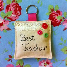 Personalised Fabric Keyring, perfect for the teacher gift!