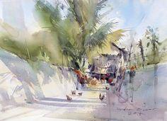 Direk Kingnok Watercolor artist Morning light. 34 x 48 cm.