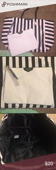 Pink and black striped Victoria's Secret tote Super cute never worn Victoria's Secret tote comes with small cosmetic bag very cute Victoria's Secret Bags Totes