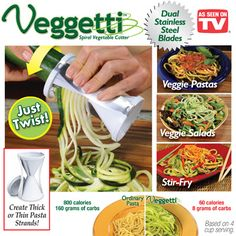 Veggetti Kitchen Gadget- Slices Veggies into Spaghetti!  Cucumber spaghetti, carrot spaghetti, squash spaghetti