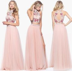 Sherri Hill 2017 two-piece prom dress, light pink with flower top.