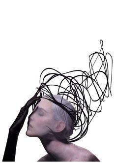 "nadja auermann models philip treacy hats in ""heady notions"", vogue, december 1996. photographer: irving penn."