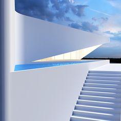 on Behance// Roman Vlasov Sevastopol, Ukraine Minimal Architecture, Stairs Architecture, Concept Architecture, Futuristic Architecture, Beautiful Architecture, Architecture Details, Interior Architecture, Espace Design, Futuristic Home