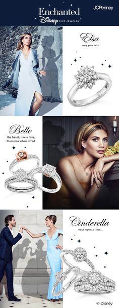 Bippity-boppity-boo! Disney engagement rings are here! The Enchanted Collection by Modern Bride offers stunning engagement rings inspired by your favorite Disney princesses. With a sleek band and flower-shaped cluster of diamonds, the Elsa-inspired ring is one that she'll never be able to let go. The Belle set offers wedding rings with diamond-encrusted bands and rose-gold accents. The Cinderella collection of rings includes a 3-tier diamond band that she's sure to gaze at happily ever…