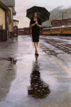 I have a special love for artists who capture a moment in time.  One of my favorite artist who is a master at this is Jack Vettriano whose famous dancing on the beach paintings are wonderful -  http://www.cuded.com/2011/08/watercolor-paintings-by-steve-hanks/