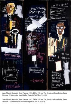 """Jean-Michel Basquiat - Horn Players, 1983. Broad Foundation, Santa Monica. Many of Basquiat's paintings celebrate black heroes - in this painting Charlie """"Bird"""" Parker and Dizzy Gillespie."""