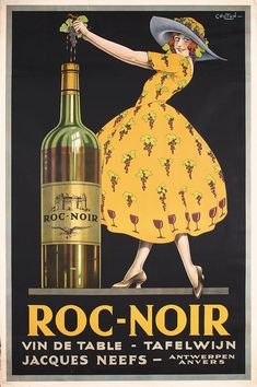 Beautiful Rare Original 1920s Wine Advertising Poster. Part of our November 3, 2013 poster auction.