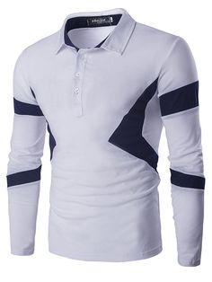 Turn Down Collar Color Spliced Long Sleeve Polo Shirt For Men Long Sleeve Polo, Long Sleeve Shirts, Polo Outfit, Mens Shirts Online, Collar Shirts, Men's Shirts, Casual Shirts, Shirt Style, Mens Fashion